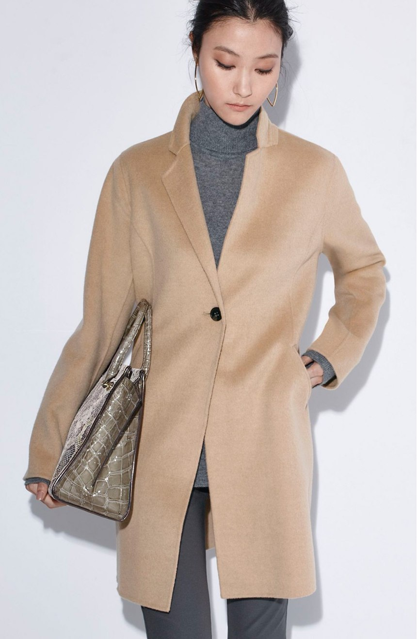Double Face Wool Blend Coat in Camel | Michael Kors | $178