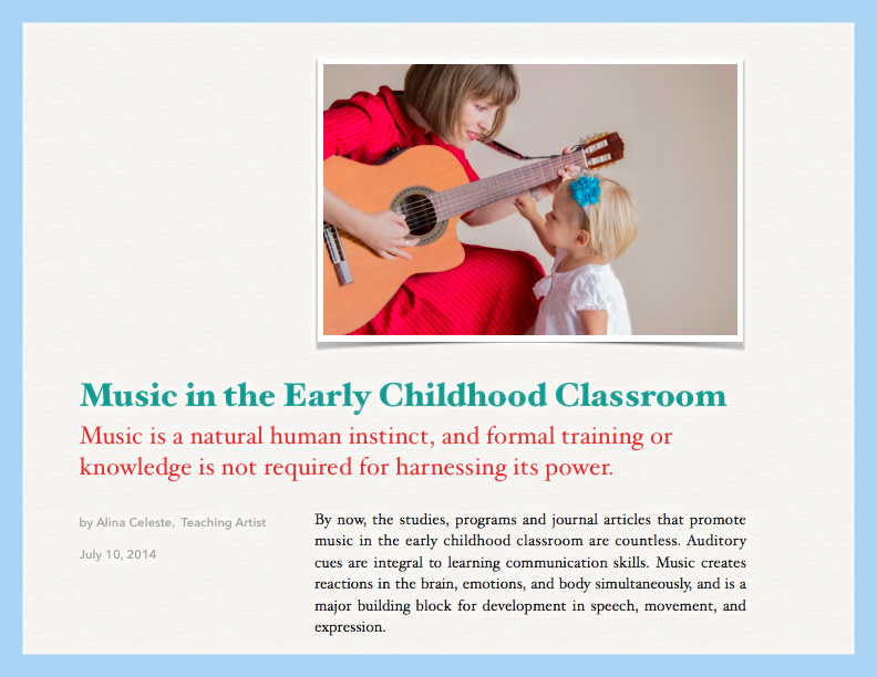Alina also teaches workshops for Educators on using music and musical activities in the Early Childhood Classroom. For a sample handout, click here.