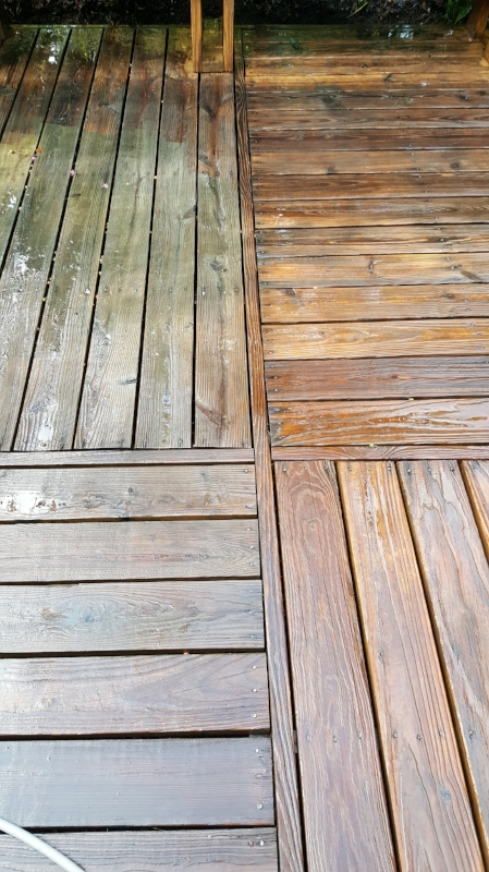 Before and After of a Deck wash. Power Washing, Pressure Washing