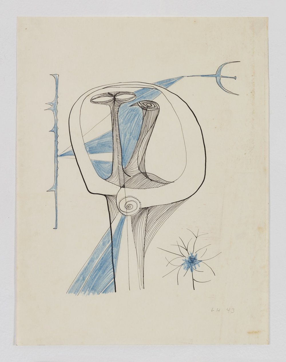Luchita Hurtado, untitled, 1943, ink and colored pencil on paper, 12 x 9 inches (30.5 x 22.9 cm)