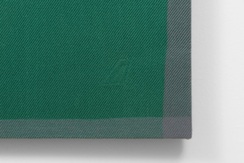 Riccardo Paratore, untitled, 2017, detail, Alitalia Airlines blanket on stretcher bars, 56 ½ × 40 ½ × 0.4 inches (143.51 × 102.87 × 1.02 cm)