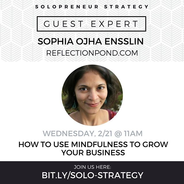 We have a guest expert in the #solopreneurstrategy #facebook group next week. My friend Sophia will be talking about mindfulness for biz owners. Join the FB group to listen in! Link in bio.