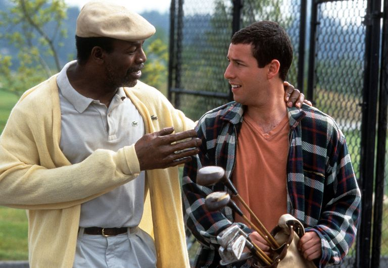 Happy is called to action - by Chubbs, the ex-golfer forced to retire after losing his hand to an alligator. It is Chubbs, who also dons a Merlin-esque graying beard and intense eyes, who recognizes Happy's skill with the golf club, and urges him to compete in the Waterbury Open golf competition.