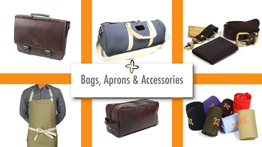 Leather Travel Bag, Duffle Bags for Men, Chef Knives To Go, Aprons for Men, Culinary and Travel Accessories.