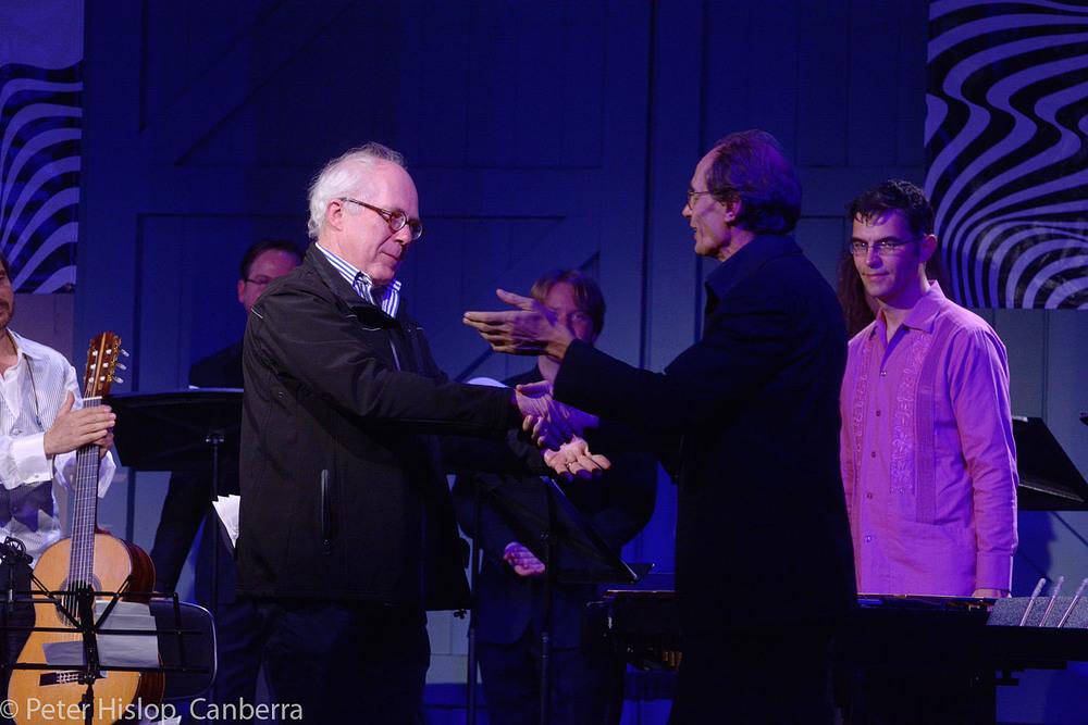 CIMF 2016 - Concert 15 - El Camino. Conductor Roland Peelman congratulated by composer Gerard Brophy