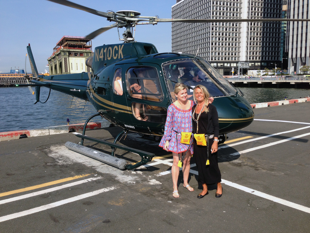 Naudic creator Emma Puttick and her friend Petra from Stockholm take a helicopter ride over the Big Apple.