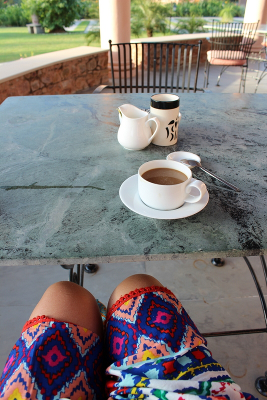 Starting the day the Naudic way - a bright outfit, a stunning view and a quiet cuppa. Paradise.
