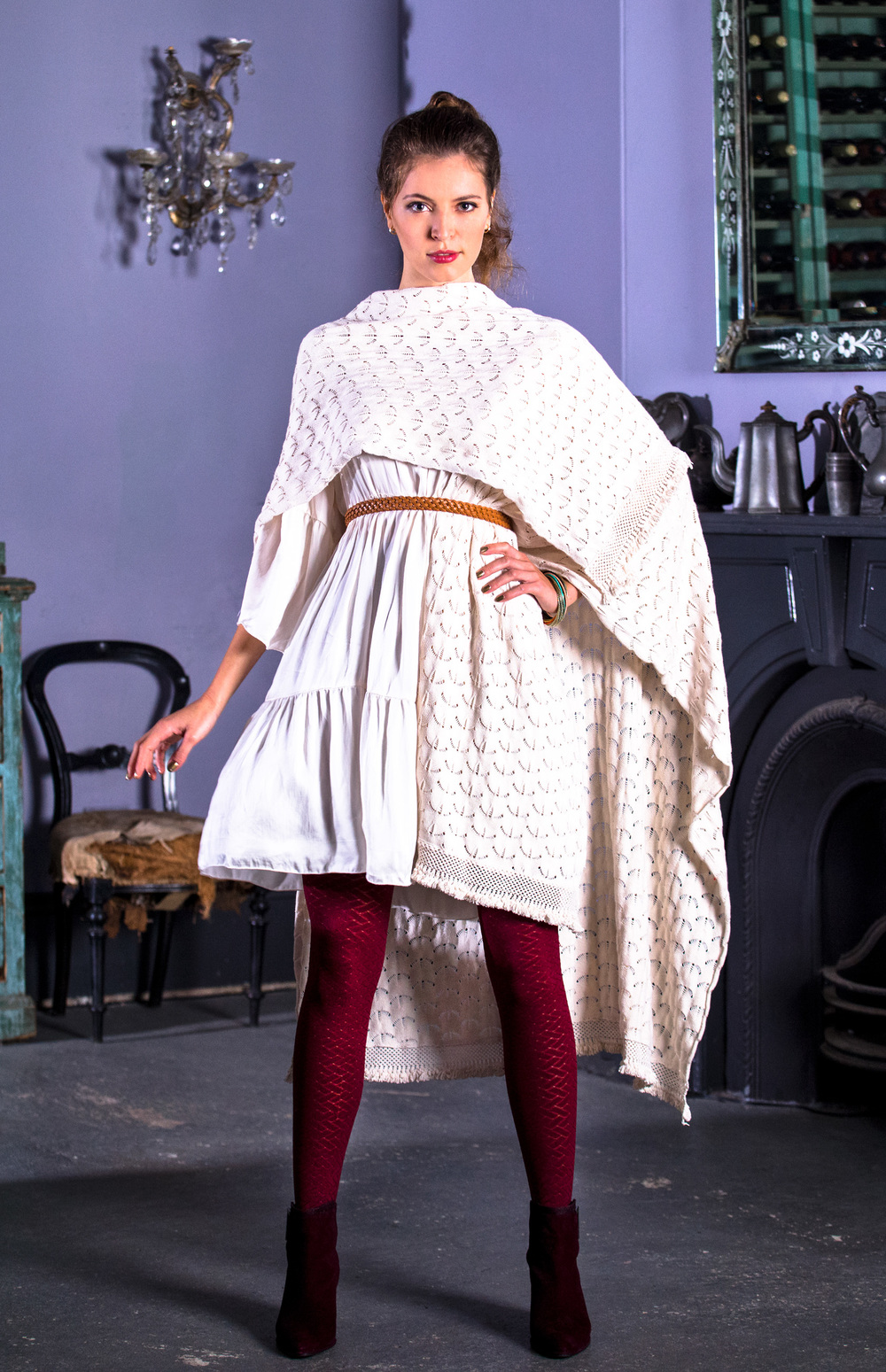 Style this Naudic Cape with a pair of tights in decadent maroon