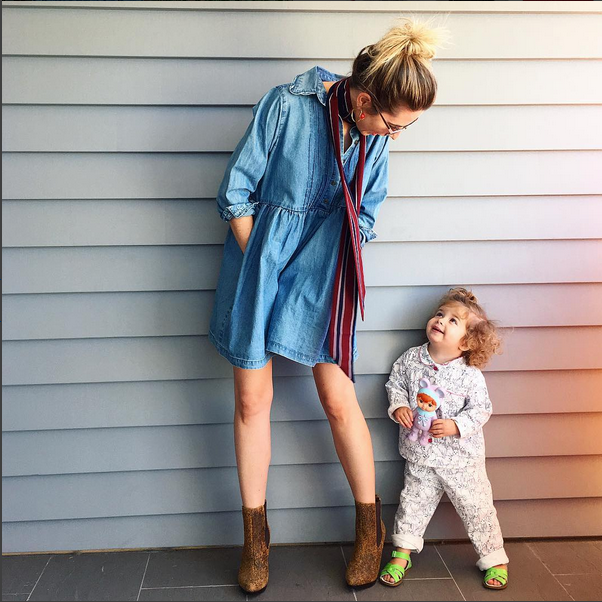 Sarah looking gorgeous in Naudic's denim smocked tunic with two-year-old Matilda.