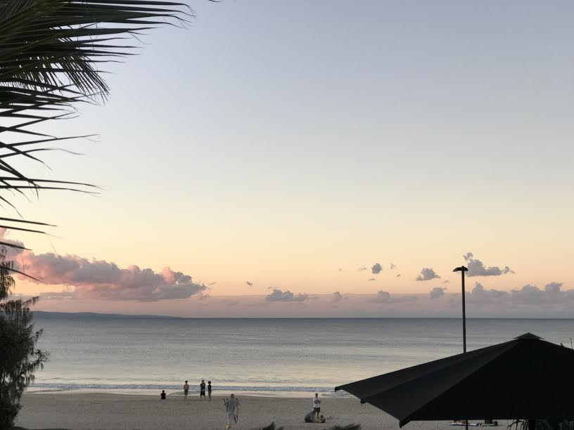 Sunset over Noosa's main beach