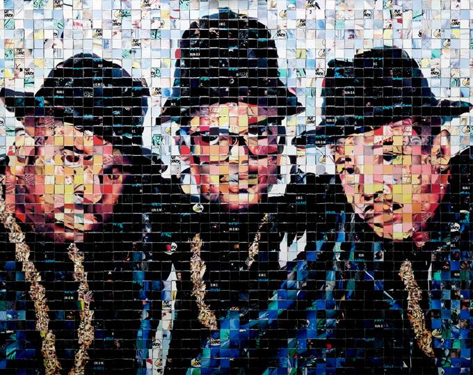 """Run DMC - Yo! MTV Raps collectible cards (ProSet MusiCards TM) - 2004 - 20""""x16"""", 1 cm tiles"""