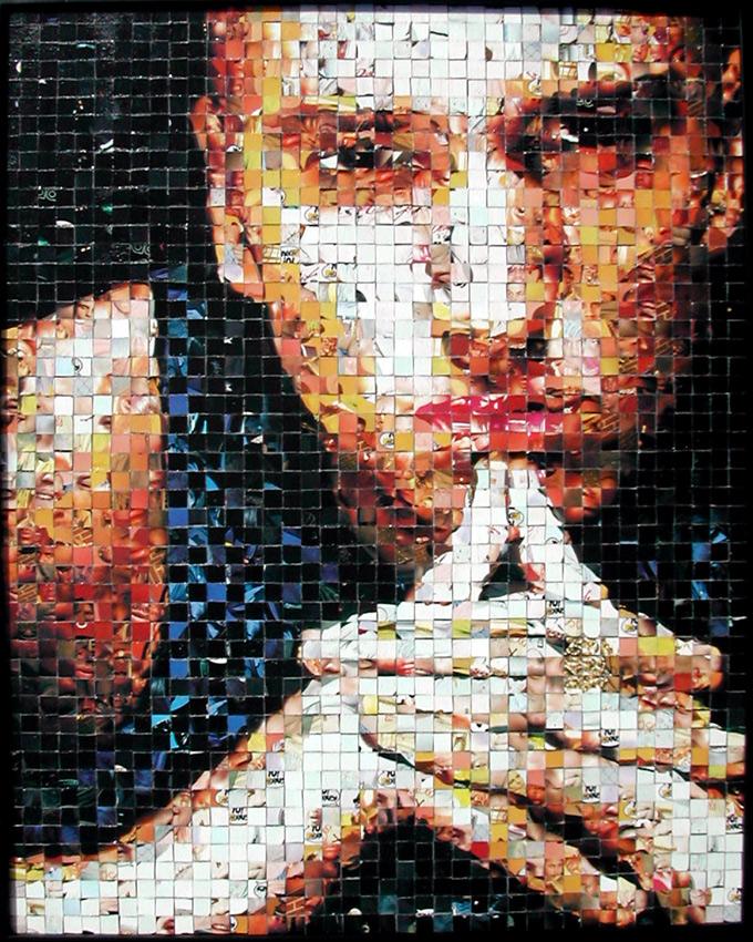 """Eminem - Yo! MTV Raps collectible cards (ProSet MusiCards TM) - 2002 - 16""""x20"""", 1 cm tiles"""