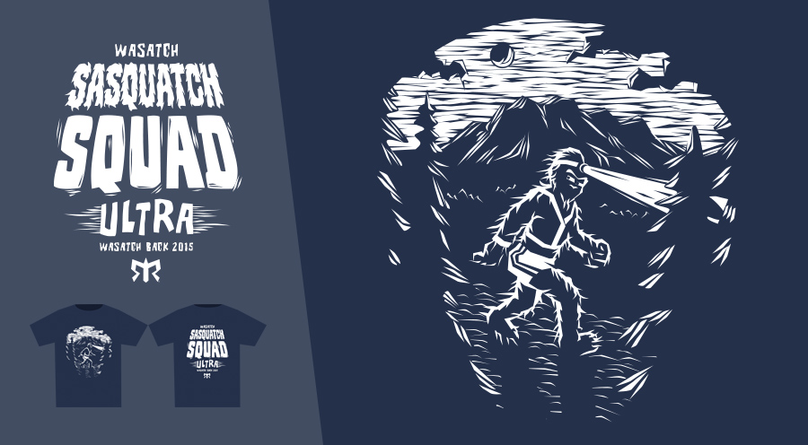 Personal Work - T-Shirt Design, Team Wasatch Sasquatch Squad, Ragnar Relay Series - 2015
