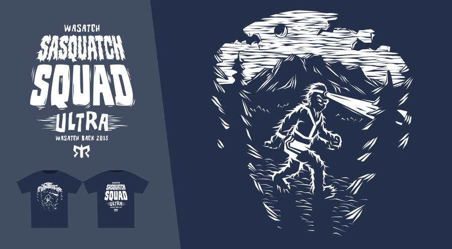 Personal Work - T-Shirt Design, Team Wasatch Sasquatch Squad, Ragnar Relay Series - 2015