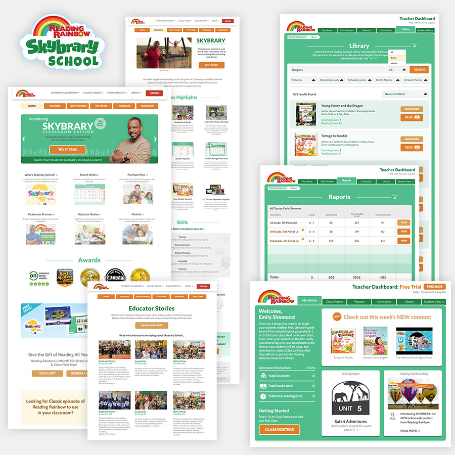 Reading Rainbow: Skybrary School - Marketing Site and Web App - UI / UX Designer & Graphic Designer (360KID, © 2015 RRKidz, Inc.) - 2015