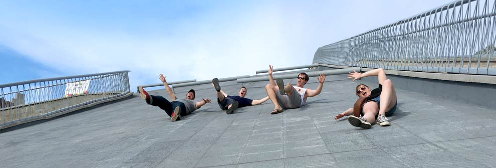Sliding down the cement at the Córdoba Cultural Center!