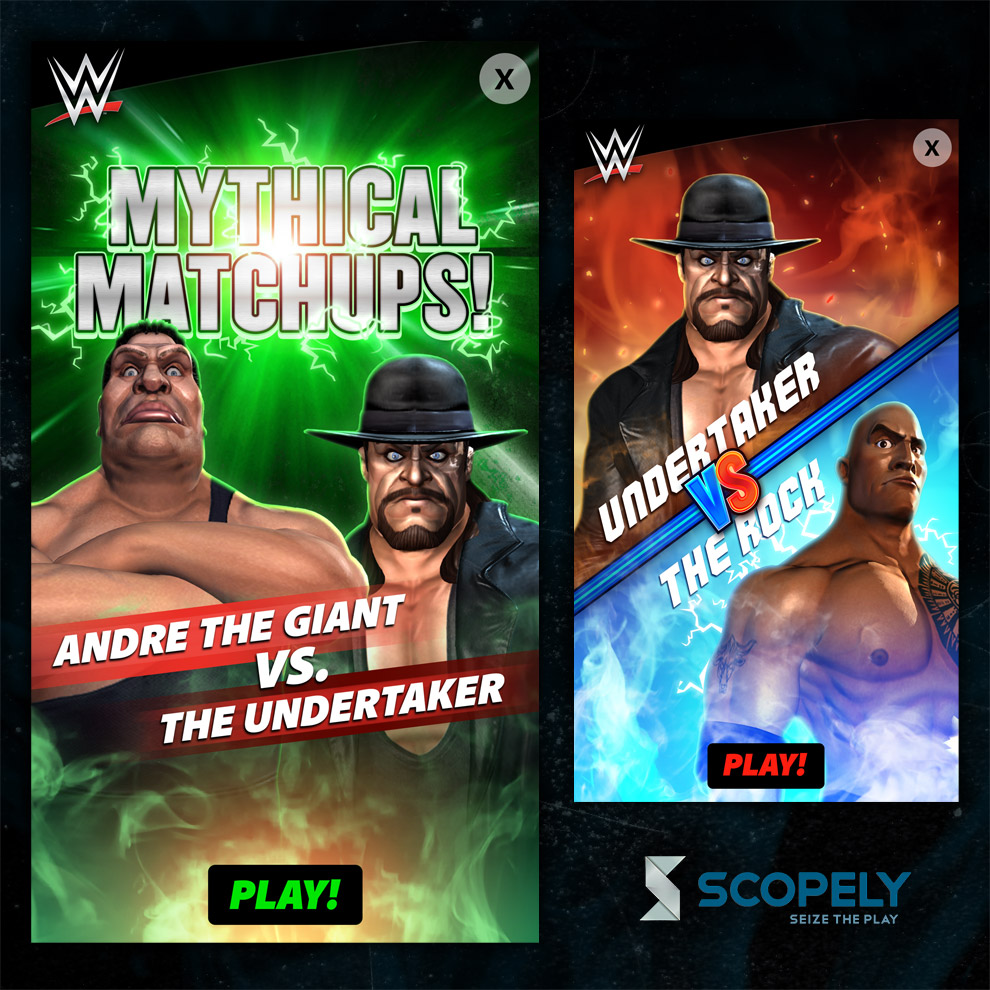 Scopely - WWE: Champions Speck Ads (Never used in-game) - Graphic Designer (Scopely, Inc.) - 2015