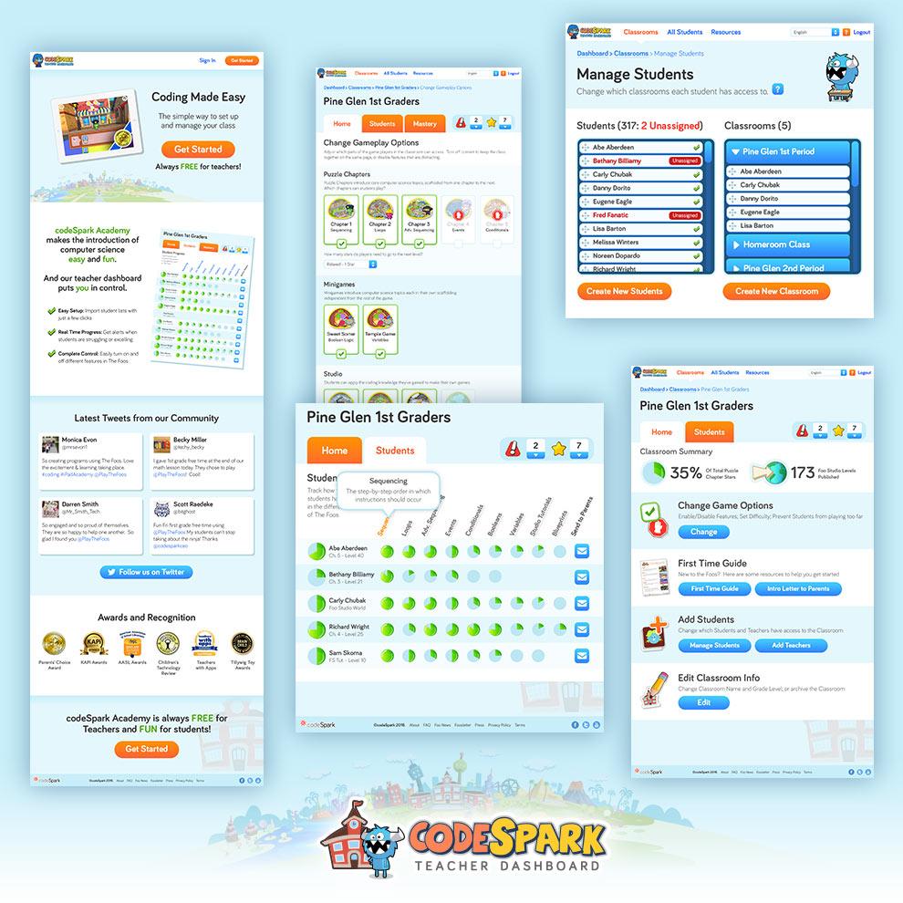 codeSpark :  The Foos   codeSpark Academy Teacher Dashboard (©codeSpark 2016)- UI / Graphic Designer - 2016