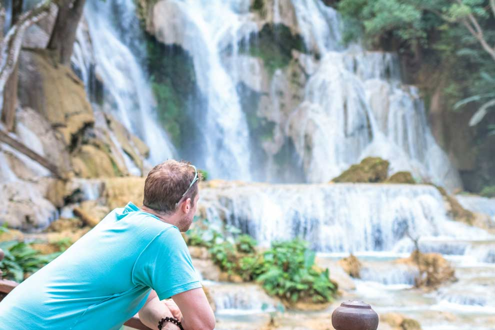 Admiring the Kuang Si Waterfalls in Laos