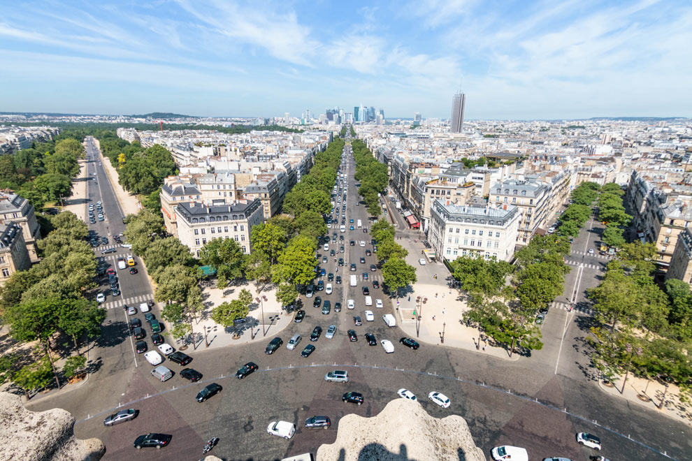View from L'Arc de Triomphe, Paris, France, July 2016