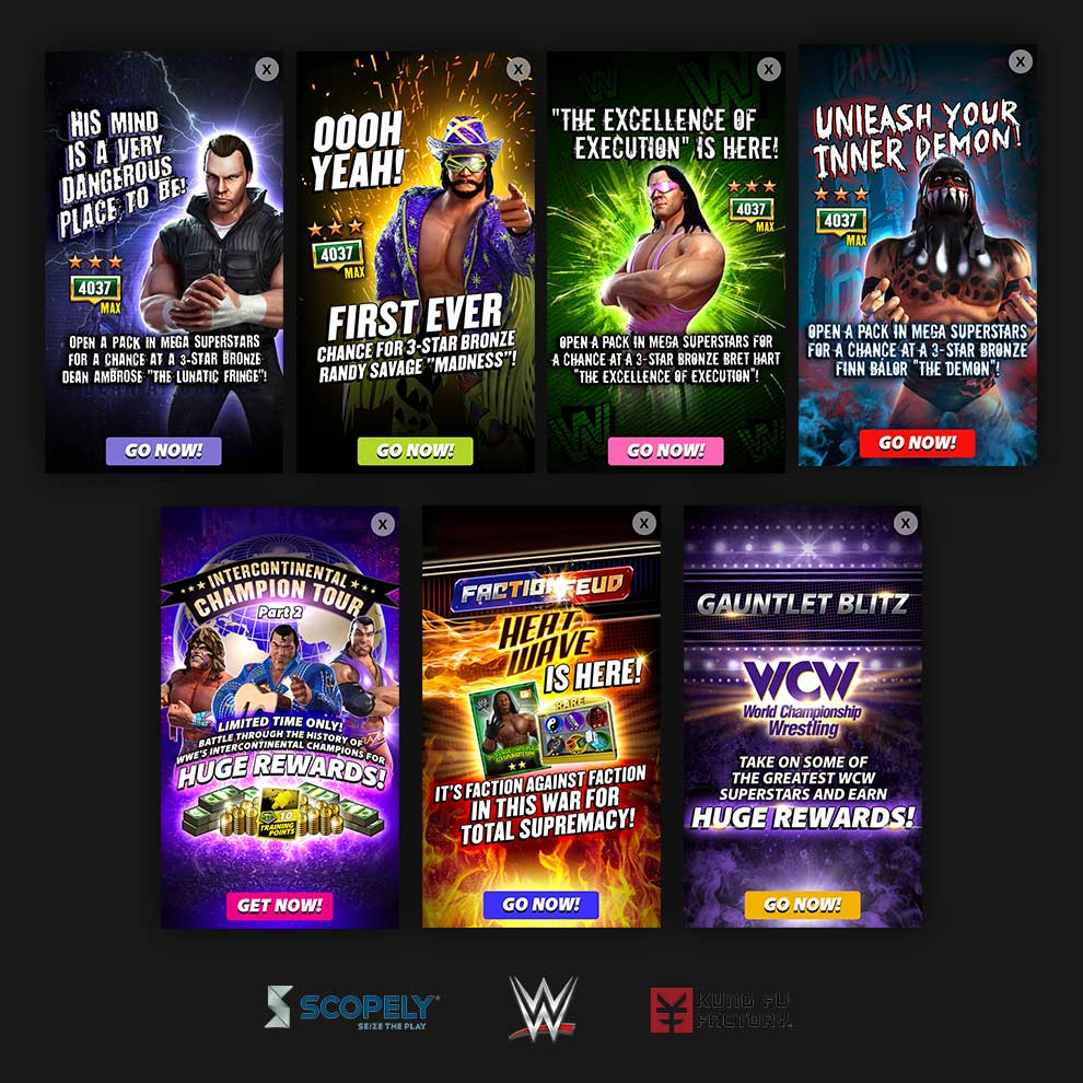 Scopely - WWE: Champions - Graphic Designer, Interstitial Ads (Scopely, Inc.) - 2016