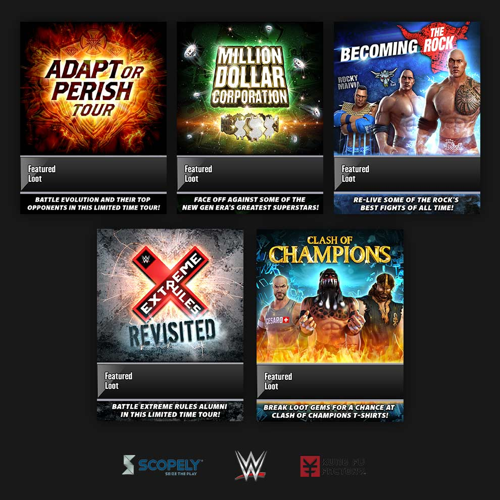 Scopely -  WWE: Champions    - Graphic Designer, Limited Time Tours (Scopely, Inc.) - 2016