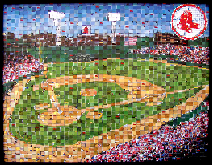 "Fenway Park - 2003  Topps Series 1 - (© The Topps Company, Inc.)  - 2003 - 20"" x 16"", 1 cm & .5 cm tiles"