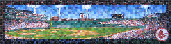"Fenway Park - 2007 Topps Series 1 -  (© The Topps Company, Inc.)  - 2011 - 29.5"" x 7.5"", 1 cm & .5 cm tiles"