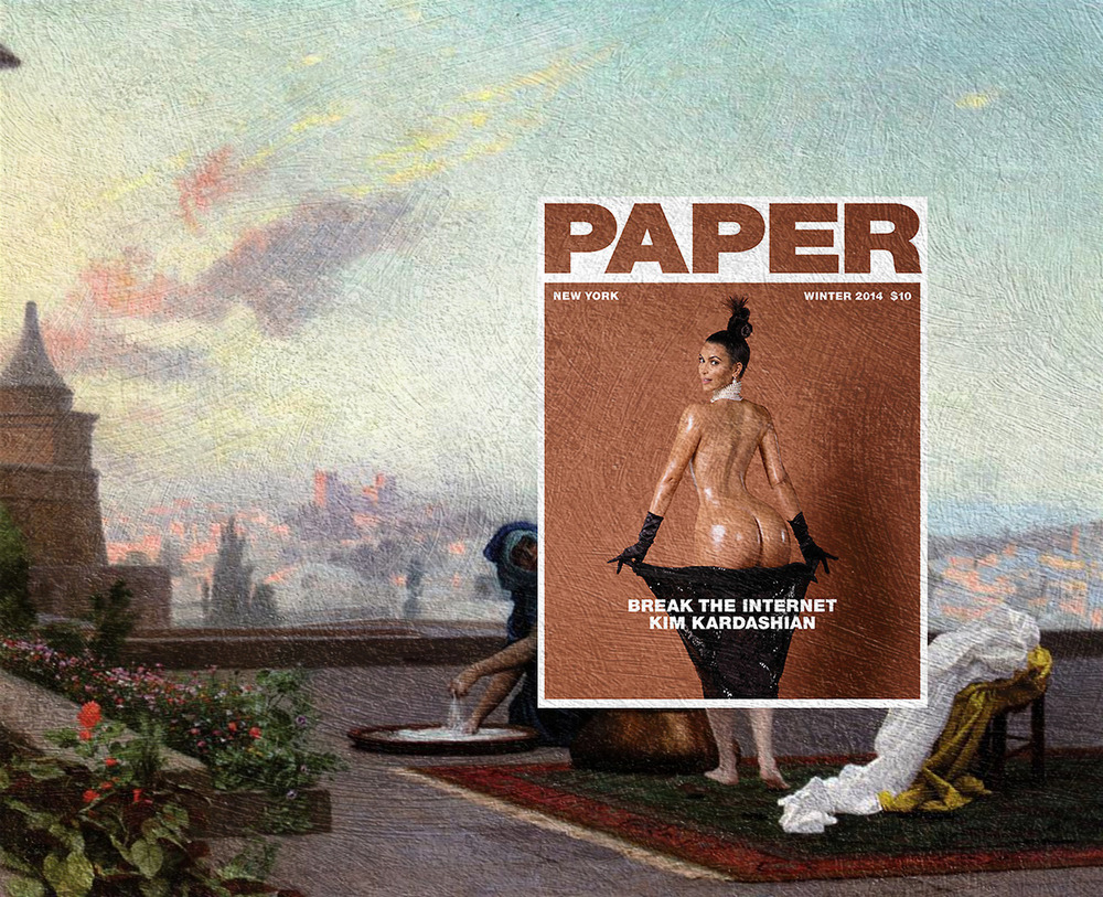 LAUNDRY TIME WITH KIM KARDASHIAN Kim Kardashian, Paper Magazine Winter 2014 + Bathsheba by Jean-Leon Gerome