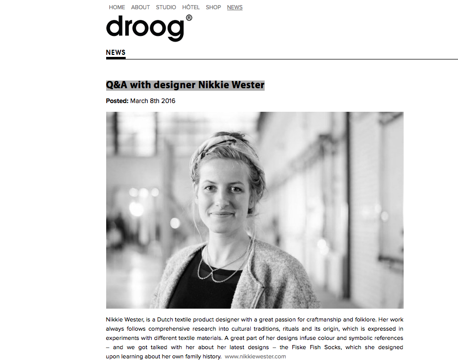 Droog | Q&A with designer Nikkie Wester