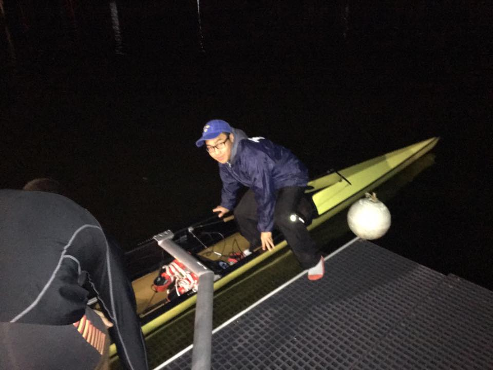 First coxswain to ever be able to launch in an eight straight off the deck. Hoorah!