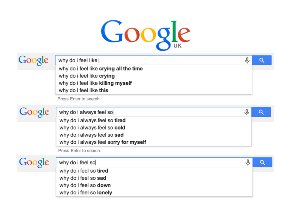 Real autocomplete suggestions from Google UK -  March 2014