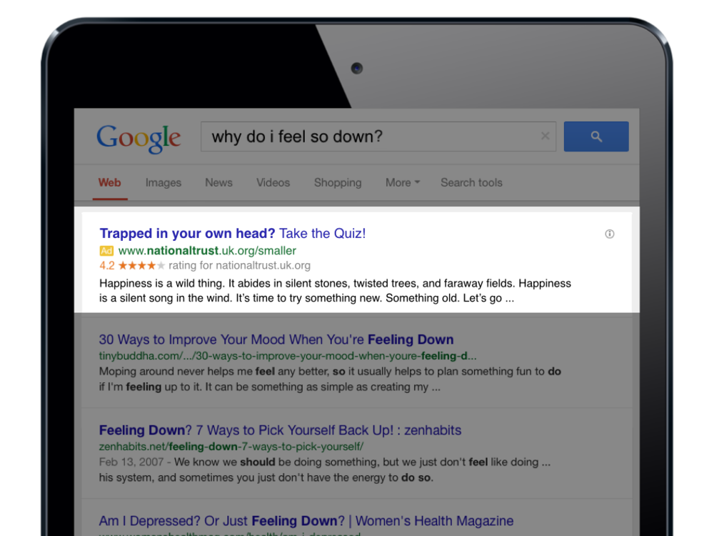 Using SEO, we can ensure our campaign's microsite will take priority in search results related to depression in the UK.