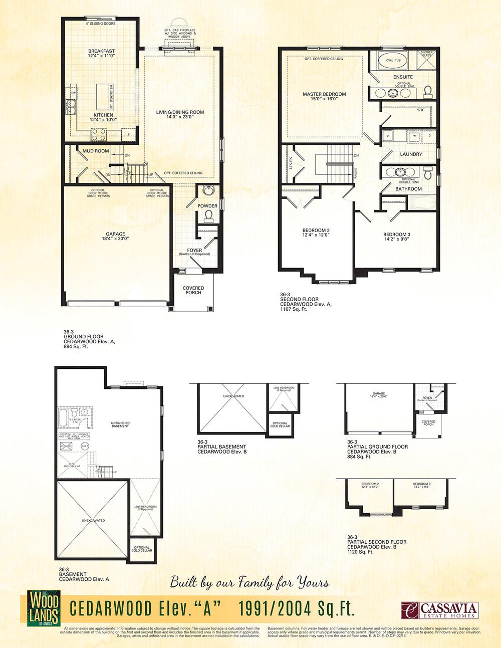 Cedarwood Flr Plans — CASSAVIA ESTATE HOMES