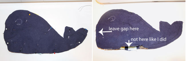 Free Pattern and Tutorial for this whale tag toy at Two More Minutes.