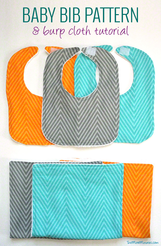 Free bib pattern and burp cloth tutorial! Make these baby bibs and burp cloths in no time out of a fat quarter. #diybabygifts #babybibs #bibpattern #burpcloths