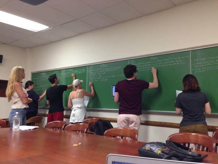 Several of my students at Columbia University writing out their stories in preparation for line editing.