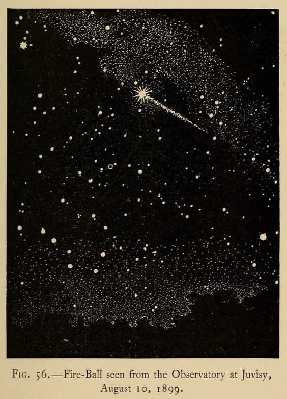 My perennial fascination with vintage astronomy – Fireball seen from the Observatory at Juvisy in 1899.