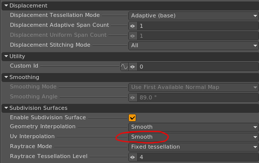 By default Clarisse sets the UVs to Smooth.