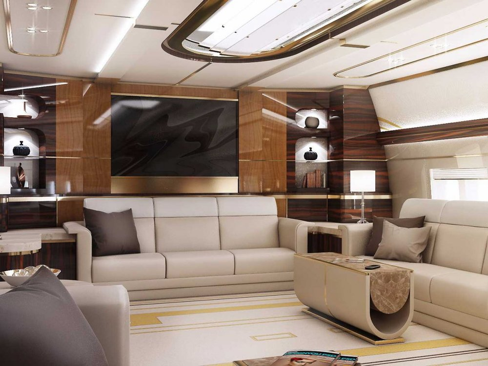 The TVs get an upgrade on this private jet via Burner Air