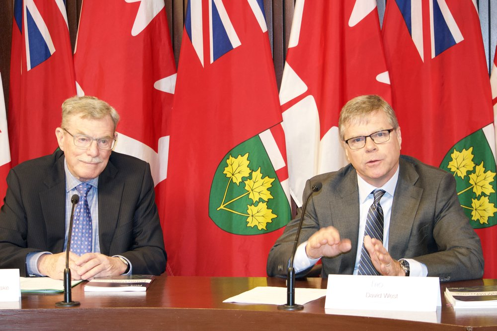 The FAO's David Wake (left) and David West presented a long-term budget outlook Thursday at Queen's Park. (Sarah Reid)