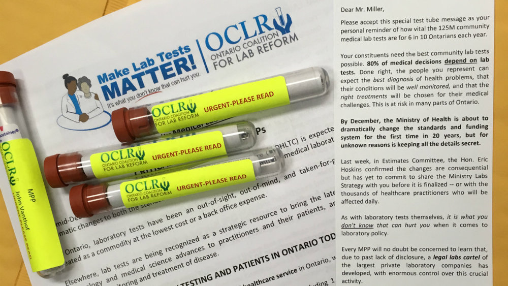 The Ontario Coalition for Lab Reform sent out letters in personalized test tubes to all Ontario MPPs last month. (OCLR)