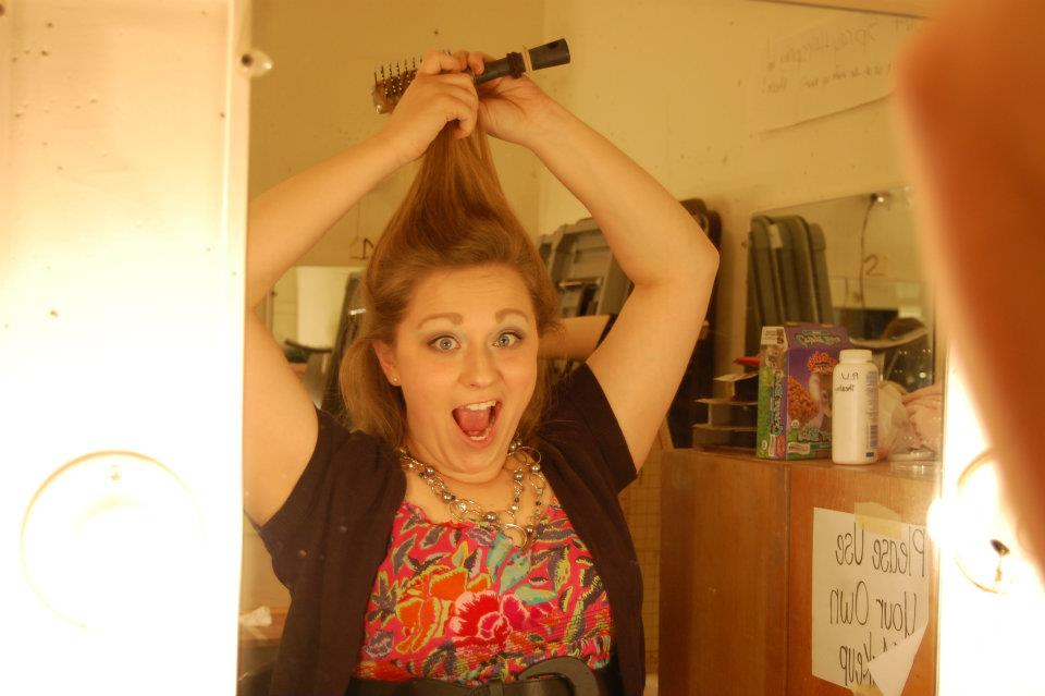 "Backstage hair prep for ""Real Housewives"" Falstaff scene, November 2011"