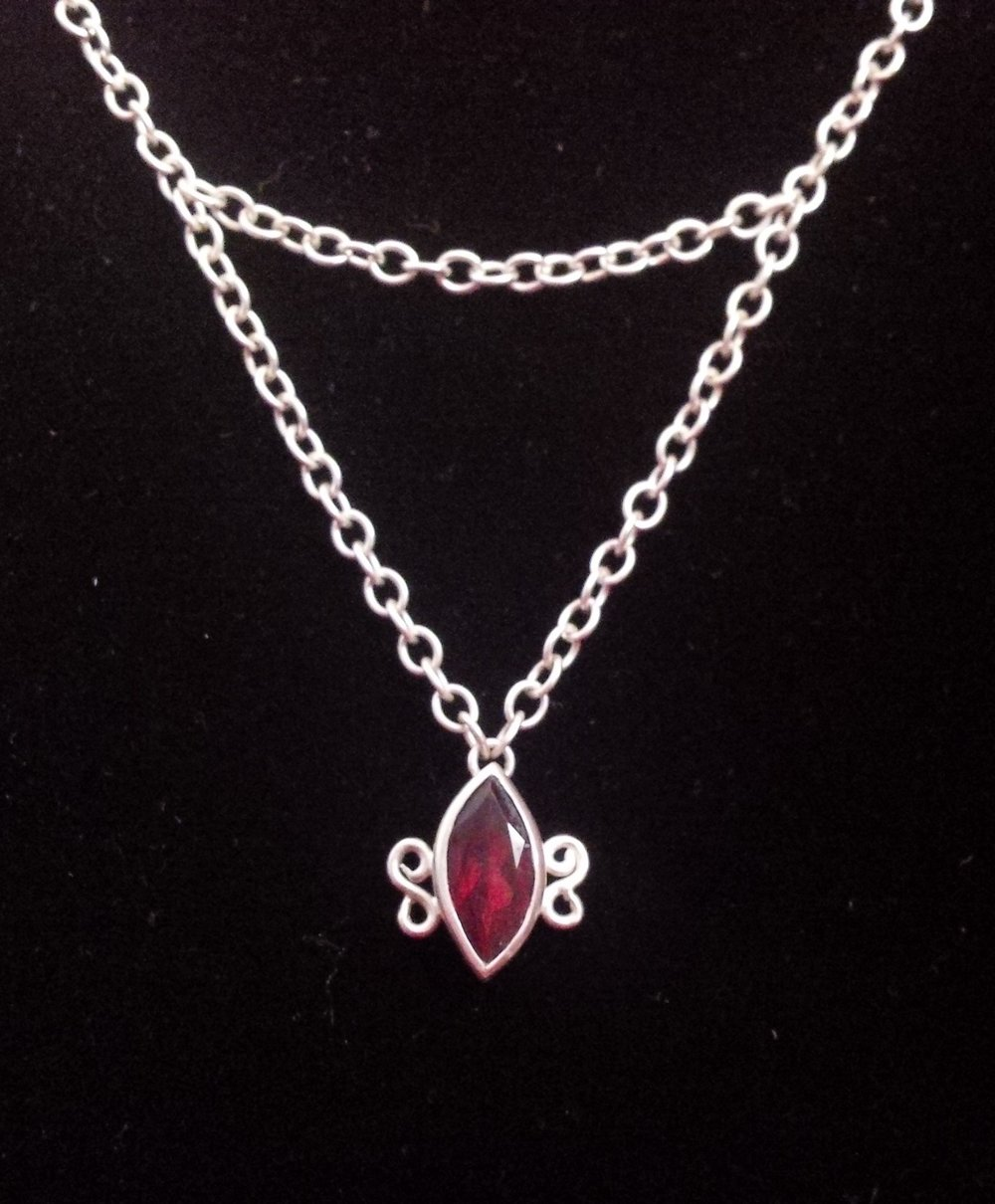 Silver necklace with marquise cut garnet - SOLD
