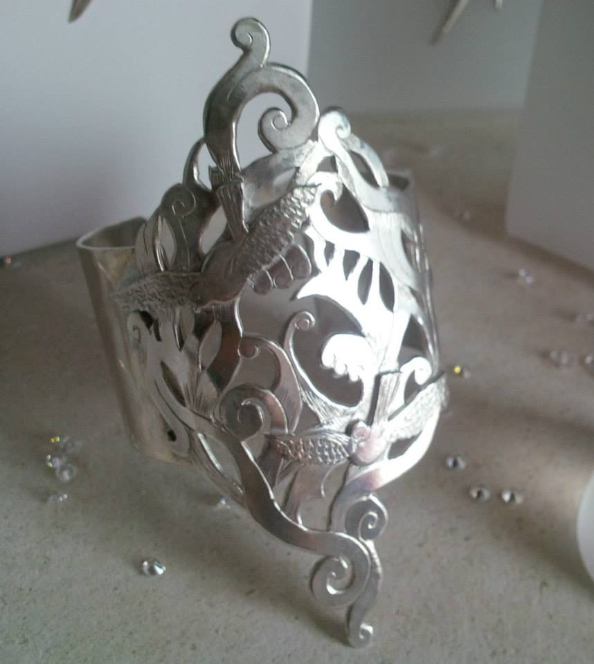 Silver hand-carved and hand-engraved cuff - SOLD