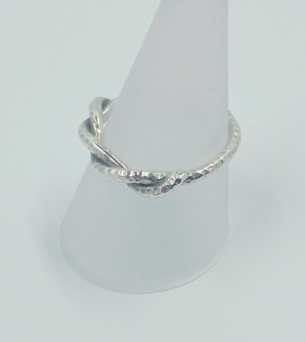 Silver, textured, 'knotted' ring -  BUY