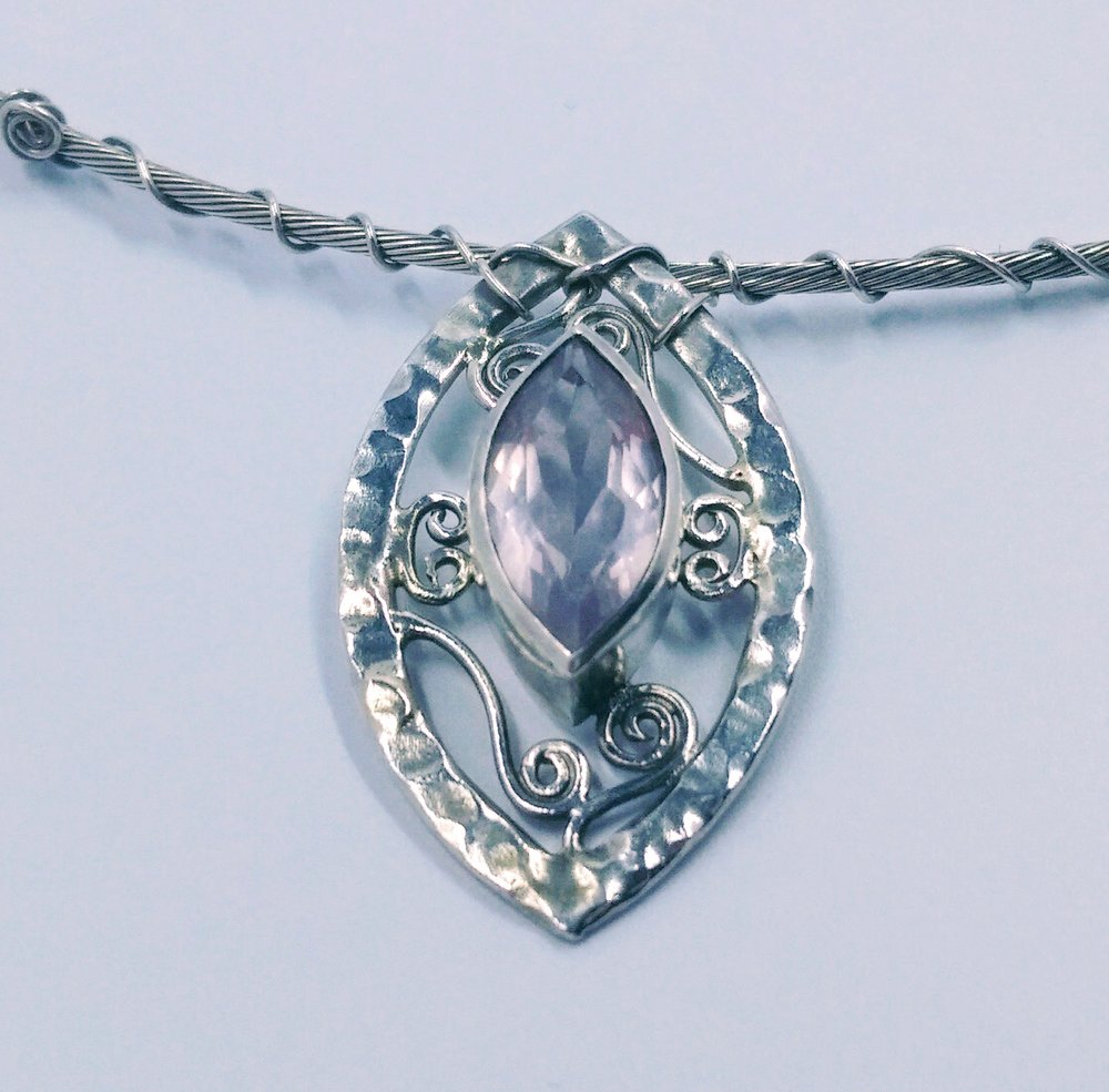 Silver necklace with wirework detail and central marquise cut rose quartz -  BUY