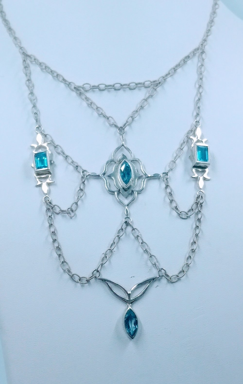 Silver necklace with four blue topaz stones -  BUY