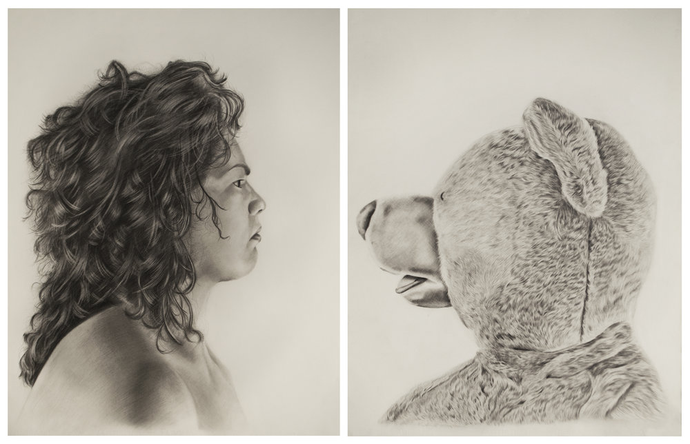 Princess Ileana vs. Lester the Molester , diptych, 30 x 22 inches each, Graphite on paper.