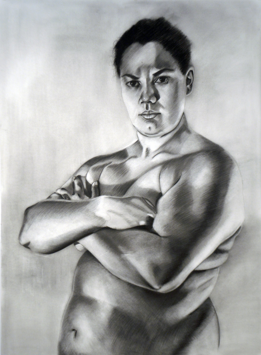 Bitch, 50.5 x 37 inches, Charcoal on paper.